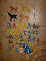 Vintage WESTERN COWBOY INDIANS HORSES FIGURE & WEAPONS & PART LOT LIDO MARX MPC?