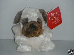 RUSS BERRIE Puppy (White Body, Brown Face and Ears) Soft Plush Toys 12cm Tall