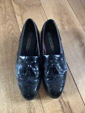 FLORSHEIM Black Leather Brogue Tassel Loafers UK 7