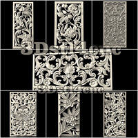 7 3D STL Model Flower Screens for CNC Router Carving Machine Artcam aspire Cut3D