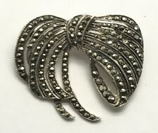 Sterling Silver Marcasite Cluster Spike Bow Ribbon Swirl Pin - Brooch Pendant