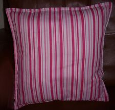"Cushion Cover striped Pinks & white 16""x 16"" christmas Gift homemade in the UK"
