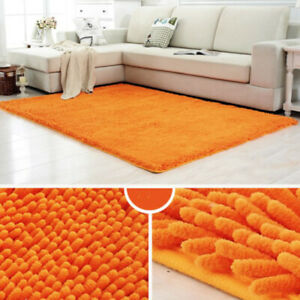 Shaggy Chenille Badematte / Teppichboden Teppich Dekor orange 60x90cm