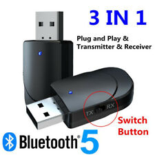 3 in 1 Audio Transmitter Receiver Adapter USB Bluetooth 5.0 for TV PC Car AUX-UK