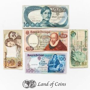 PORTUGAL: Set of 5 Portuguese Escudo Banknotes.