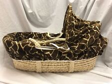 PADDED PALM MOSES BASKET WITH ANIMAL PRINT DRESSINGS EX DISPLAY