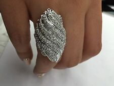 1.68 T.C.W Round Cut and Baguette Cocktail Cluster Diamond Ring 14k white gold
