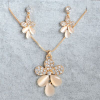 Fashion Necklace Earrings 18K Gold Plated Crystal Wedding Jewelry Set