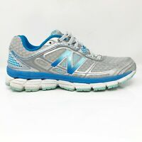 New Balance Womens 860 V5 W860SB5 Silver Blue Running Shoes Lace Up Size 9 2A