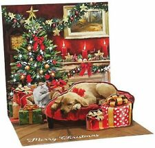 Holiday Room Light Up Christmas Card Dog & Cat 3D Pop Up Holiday Greeting Card