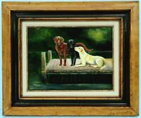 """M.JANE DOYLE SIGNED ORIG.ART OIL/CANVAS PAINTING """"WAITING FOR THE MASTER""""(DOGS)"""