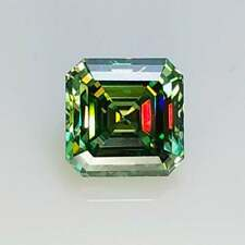 0.91 CT To 3.94 CT Green Color Asscher Diamond Cut Loose Moissanite Best 4 Ring