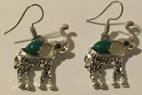 Vintage Pierced Hook Earrings Silver Finish Green Stone Intricate