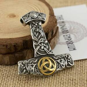 Viking Necklace Thors Hammer With Gold Trim Pendant Stainless Steel Mens Jewelry