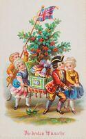 Glückwunschkarte. Kinder mit Trage, Geschenken u. brit. Flagge, 19. Jh., Litho