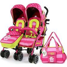 Double Twin Pink Folding Pushchair Stroller Toddler Baby Buggy Pram