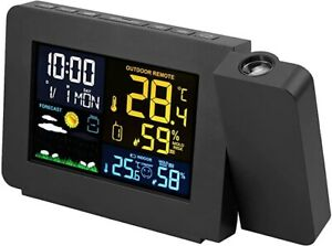 Digital LCD LED Projector Projection Weather Station Calendar Snooze Alarm Clock