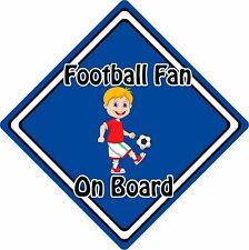 Football Fan On Board Car Sign ~ Baby On Board Safety Sign ~ Blonde Boy Blue