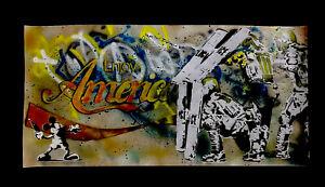 MynBender- ENJOY AMERICA-HUGE Original GRAFFITI-Signed COA- BANKSY-MR. BRAINWASH