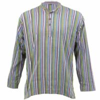 Grandad Shirt Collarless Festival Cotton Long Sleeve Boho Mens Kurta STRIPED