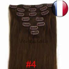 HAIR EXTENSIONS CLIPS 100% NATURAL REMY HAIR 53CM CHESTNUT CHOCOLATE #4