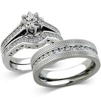 His & Hers Stainless Steel 1.85 Ct Cz Bridal Set & Men's Eternity Wedding Band