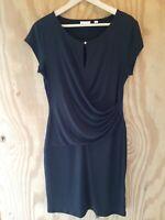 New York & Company Women's Dress Short Sleeve Keyhole Neck Black Stretch.Size L
