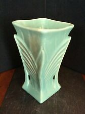 "McCoy Vase 1945 Art Deco 9"" Green Made in USA (d)"