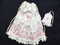 HM Gift~Ditty Bag W/  antique French Pink Rose Yuwas in fashion doll look+++