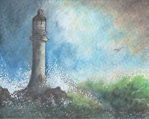 lighthouse orig ACEO ATC art card painting Susan Alison tower building maritime