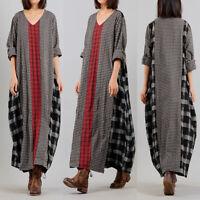 Womens Long Sleeve Check Patchwork Maxi Dress Casual Loose Kaftan Baggy Dresses