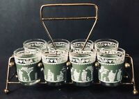 Vintage Jeanette Glass Co. Wedgewood Grecian Hellenic Shot Glasses in Caddy