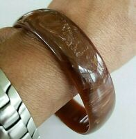 Vintage Brown Marble Plastic Celluloid Lucite ? Bangle Wide Bracelet