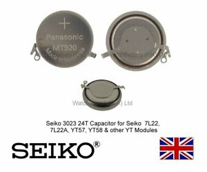 Seiko 302324T Rechargeable Capacitor Watch Battery 7L22 7L22A YT57B YT58 - MT920