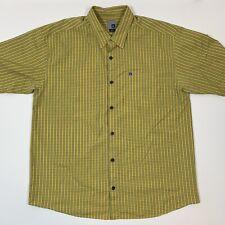Quicksilver Men's Casual Short Sleeve Shirt Yellow Plaid In XL