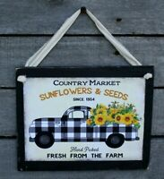 Buffalo Check Truck With Sunflowers Primitive Farmhouse Wooden Wall Sign Plaque