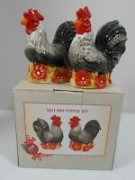 Salt & Pepper Shaker Set Ceramic Rooster Susan Winget New in Box