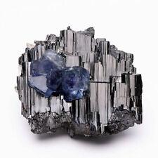 Very Rare Transparent Blue & Purple Cube Fluorite On Wolframite Crystal Specimen