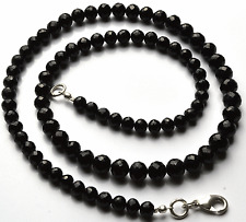 """178 CT 18"""" SUPER BLACK Spinel Micro FACETED ROUND BALLE Beads NECK.4.5 TO 6.5 MM"""