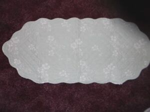 Mint green and white quilted table runner