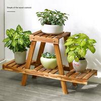 Flower Stand Shelf Wooden Floor Rack Balcony Fleshy Palnt Pot Garden Holder -