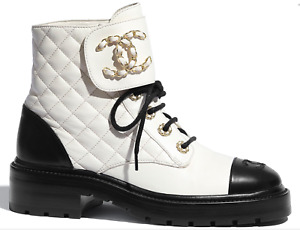 Chanel 20A Black White Quilted Gold CC Chain Combat Lace Ankle Short Boots 38.5