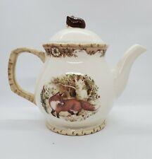 """Cracker Barrel Susan Winget Woodland Pattern Fox Tea Pot 8"""""""