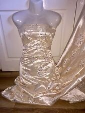 "3 MTR LIGHT GOLD METALLIC LACE ON SATIN BRIDAL FABRIC...60"" WIDE £11.99"