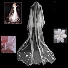 58v Romantic Bridal 3m Long Ivory Applique Flower Wedding Veil w Pearls