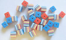 30 Plastic/Acrylic / Resin Candy Stripe Cube Beads - 8mm - Multicolour