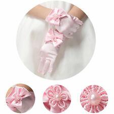 Kids Pink Creamy Satin Bow Gloves First Communion Wedding #L Flower Girl Party