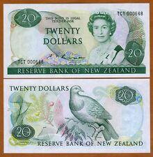 New Zealand, $20, P-173b, 1985-1989, QEII, UNC > First Prefix TCT, Low S/Ns
