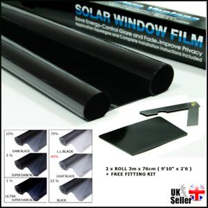 MEDIUM LIGHT BLACK 40% WINDOW TINT FILM CAR VAOFFICE TINTING ROLL 3m x 76cm