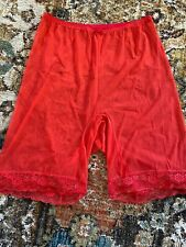 VINTAGE SHEER RED PETTI-PANTS LACE TRIMMED